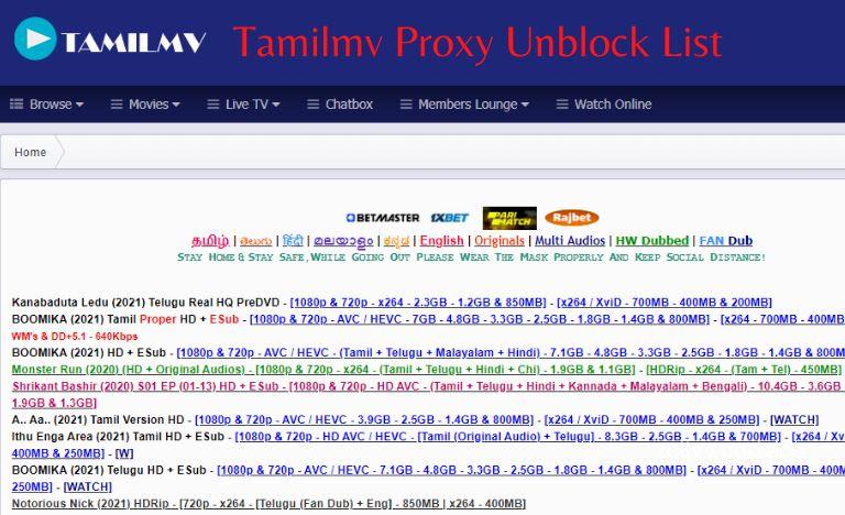 tamilmv proxy unblock list 2021