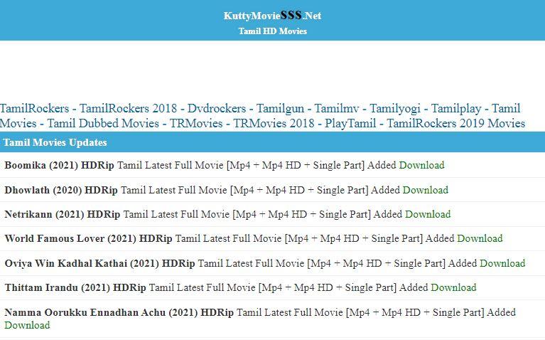 tamilrockers kuttymovies 2021 tamil movies download